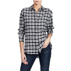 NWT plaid oversize flannel button down shirt